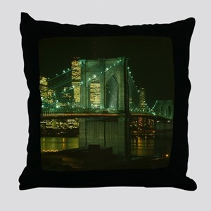 Brooklyn Bridge at Night Photograph Throw Pillow