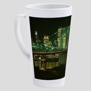 Brooklyn Bridge at Night Photograp 17 oz Latte Mug