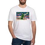 XmasMagic/Tibetan Spaniel Fitted T-Shirt