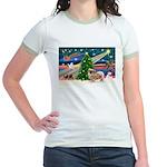 XmasMagic/Tibetan Spaniel Jr. Ringer T-Shirt