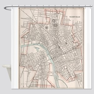 Vintage Map of Nashville Tennessee Shower Curtain