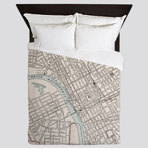 Vintage Map of Nashville Tennessee (19 Queen Duvet