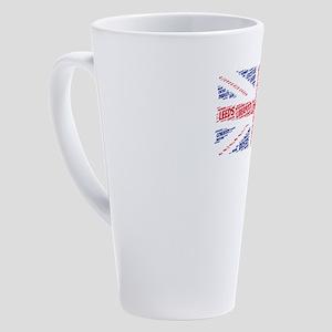 British Flag with City Names Word 17 oz Latte Mug