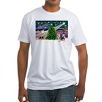 Xmas Magic & Silky Terrier Fitted T-Shirt