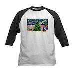 Xmas Magic & Silky Terrier Kids Baseball Jersey
