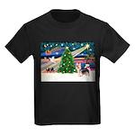 Xmas Magic & Silky Terrier Kids Dark T-Shirt