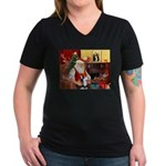 Santa's Sib Husky Women's V-Neck Dark T-Shirt