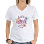 Foshan China Map Women's V-Neck T-Shirt