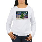 Xmas Magic & Red Husky Women's Long Sleeve T-Shir
