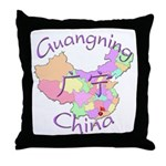 Guangning China Map Throw Pillow