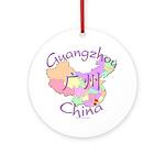 Guangzhou China Map Ornament (Round)