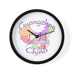 Guangzhou China Map Wall Clock
