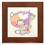 Guangzhou China Map Framed Tile