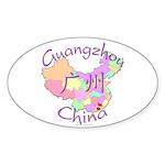 Guangzhou China Map Oval Sticker (10 pk)