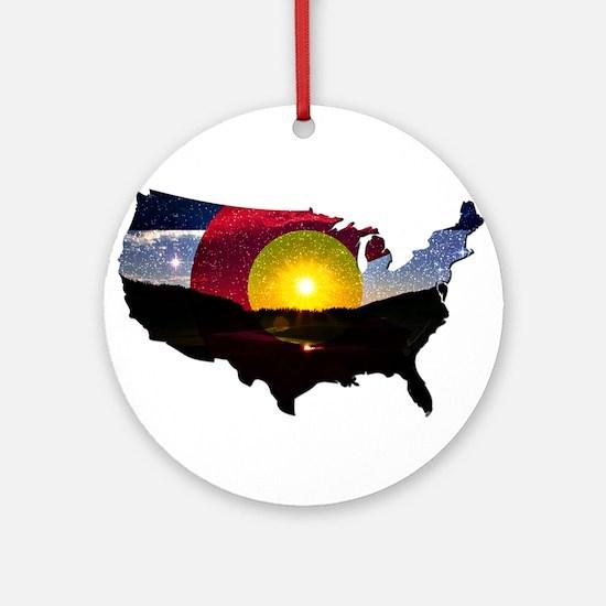 Colorado States of Mind Round Ornament