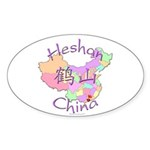 Heshan China Map Oval Sticker (10 pk)
