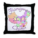 Jiangmen China Map Throw Pillow