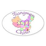 Jiangmen China Map Oval Sticker (10 pk)