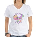 Lianjiang China Map Women's V-Neck T-Shirt