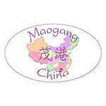 Maogang China Map Oval Sticker (10 pk)