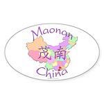 Maonan China Map Oval Sticker (10 pk)