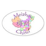 Meizhou China Map Oval Sticker (10 pk)