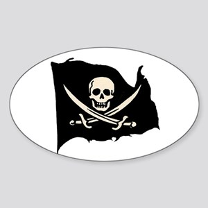 Calico Jack Pirate Flag Oval Sticker