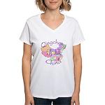 Qingcheng China Map Women's V-Neck T-Shirt
