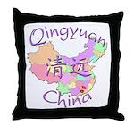 Qingyuan China Map Throw Pillow