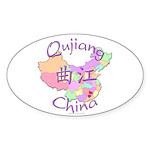 Qujiang China Map Oval Sticker (10 pk)