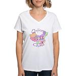 Qujiang China Map Women's V-Neck T-Shirt