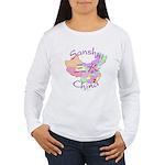 Sanshui China Map Women's Long Sleeve T-Shirt