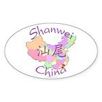 Shanwei China Map Oval Sticker (10 pk)