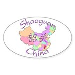 Shaoguan China Map Oval Sticker (10 pk)