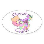 Shenzhen China Map Oval Sticker (10 pk)