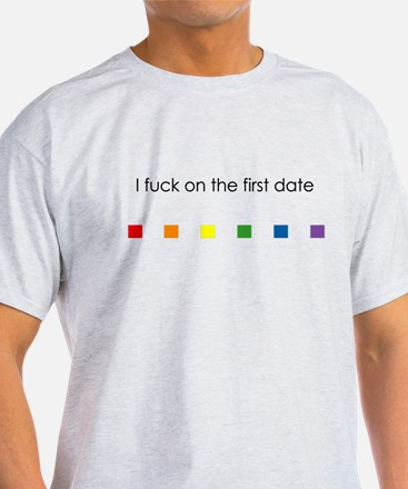I Fuck On The First Date Rainbow - Mens T-Shirt