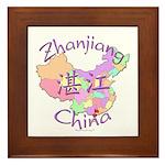Zhanjiang China Map Framed Tile