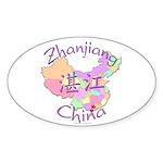 Zhanjiang China Map Oval Sticker (10 pk)