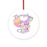 Zhongshan China Map Ornament (Round)