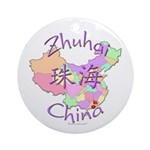 Zhuhai China Map Ornament (Round)