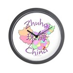 Zhuhai China Map Wall Clock