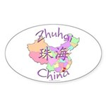 Zhuhai China Map Oval Sticker (10 pk)