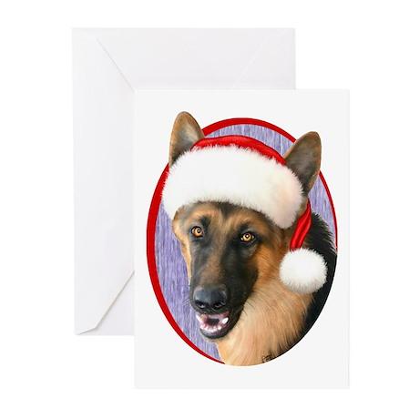 German Shepherd Santa Greeting Cards (Pk of 20)
