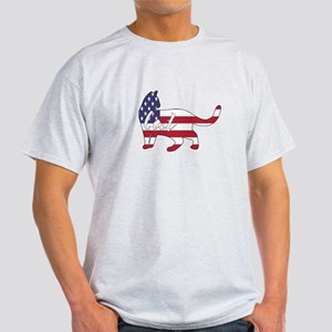 American Flag Cat Happy 4th of July T-Shirt