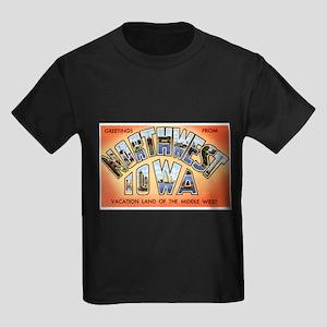 Northwest Iowa Greetings (Front) Kids Dark T-Shirt