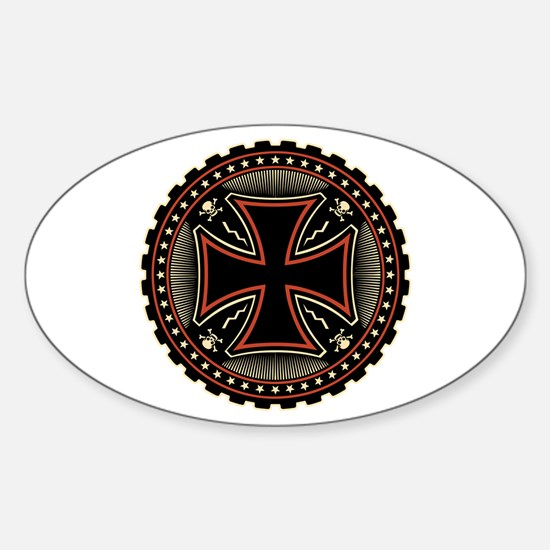 Industrial Cross Oval Decal