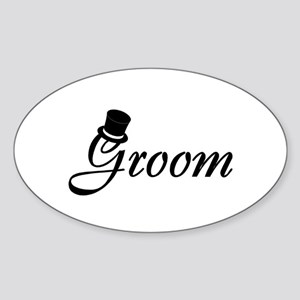 Groom (Top Hat) Oval Sticker