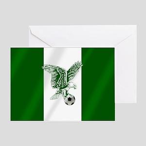 Nigerian Football Flag Greeting Cards