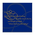 Looking At Stars In Bed Tile Coaster