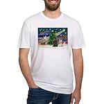 XmasMagic/2 Scotties (P3) Fitted T-Shirt
